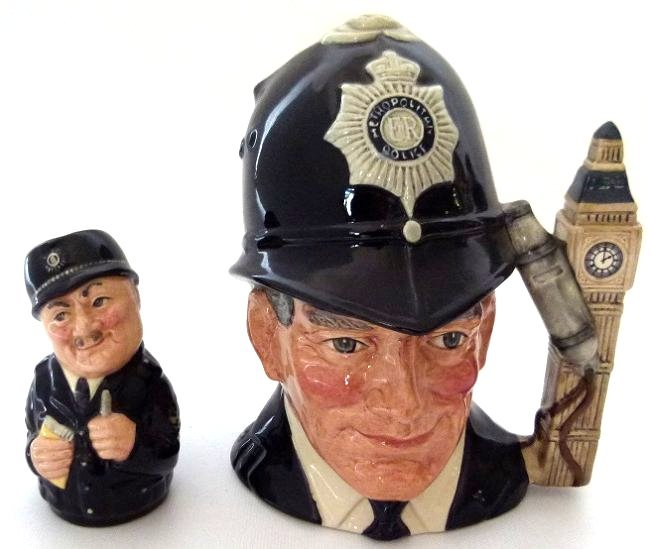 LOT (2) ROYAL DOULTON BOBBY/SGT. PEELER TOBY MUGS, C.