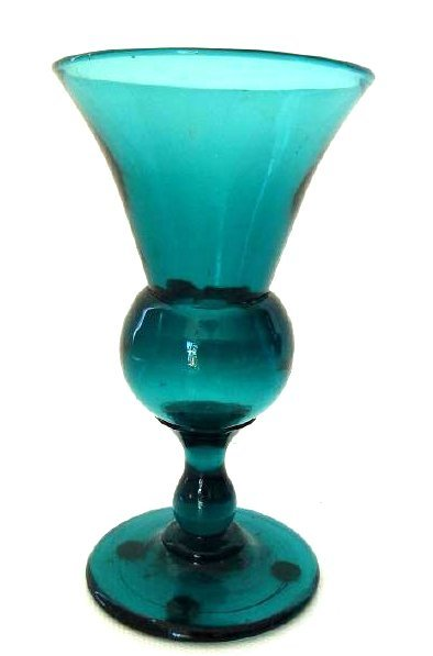 NEW JERSEY TEAL GREEN WINE GLASS, 1830