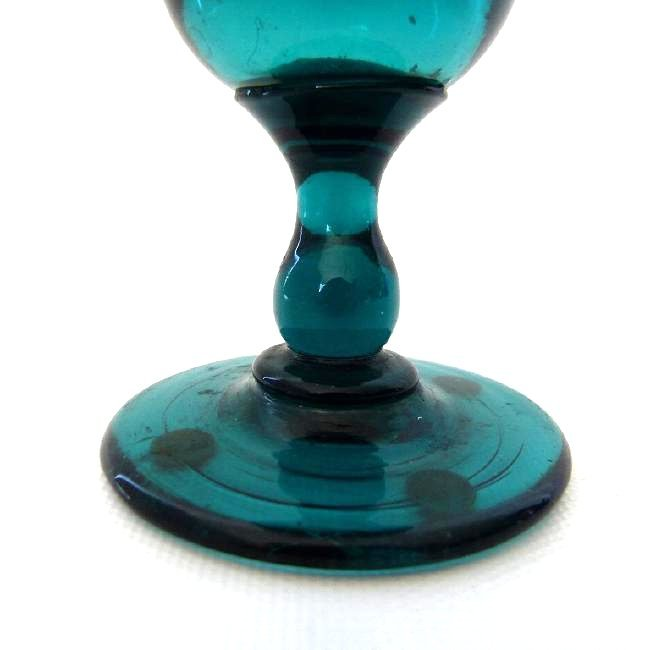 NEW JERSEY TEAL GREEN WINE GLASS, 1830 - 3