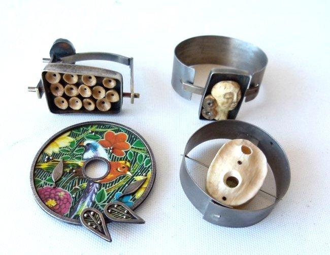 ASSORTED ART MODERN STERLING/STEEL CUFF BRACELETS