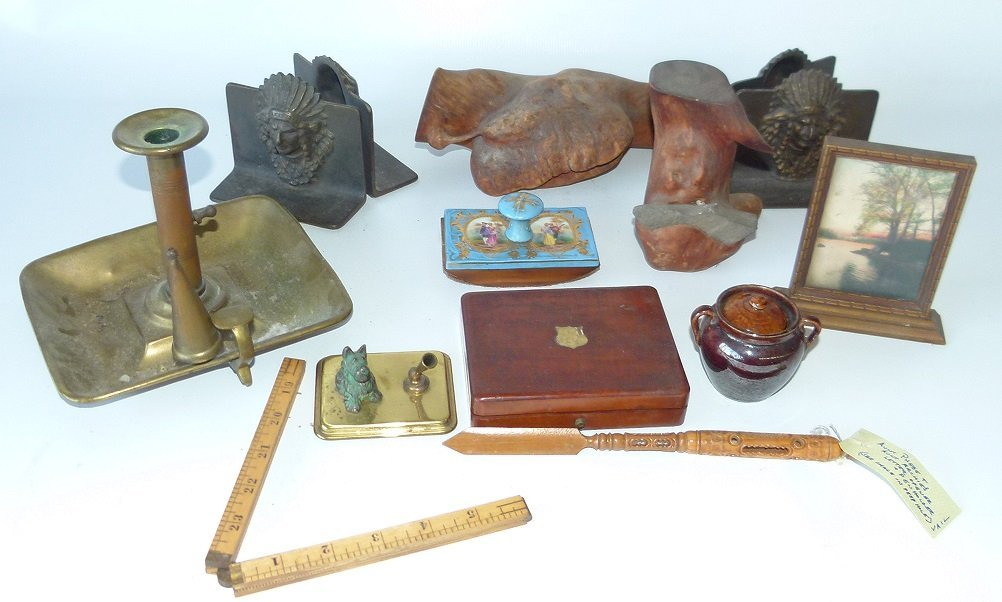 BOX LOT ASSORTED SMALLS, INDIAN BOOK ENDS, WATCH BOX
