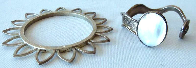 LOT (2) ART MODERN STERLING BANGLE/CUFF BRACELETS