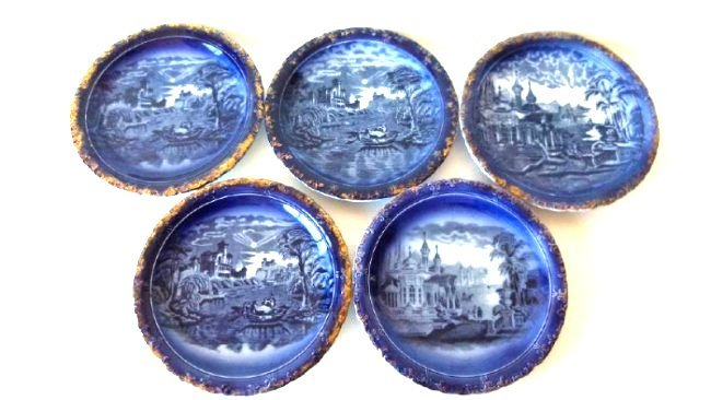 LOT (5) ASSORTED PATTERN FLOW BLUE SHOW PLATES, 19TH C.