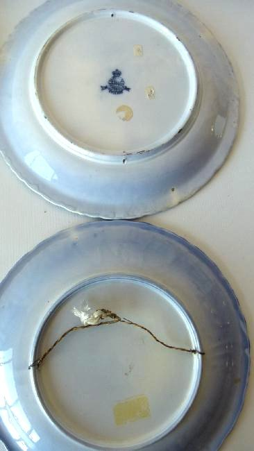 LOT (5) ASSORTED PATTERN FLOW BLUE SHOW PLATES, 19TH C. - 4
