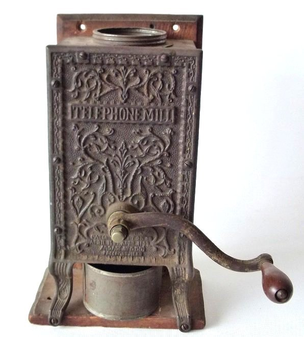TELEPHONE MILL CAST IRON COFFEE MILL (ARCADE) 1888