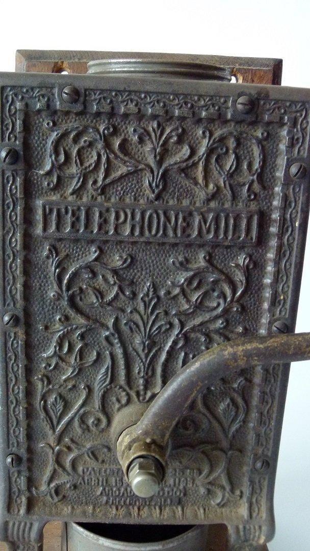 TELEPHONE MILL CAST IRON COFFEE MILL (ARCADE) 1888 - 2