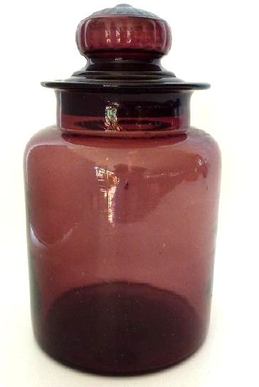 LARGE AMETHYST GLASS COVERED APOTHECARY JAR, 19TH C.