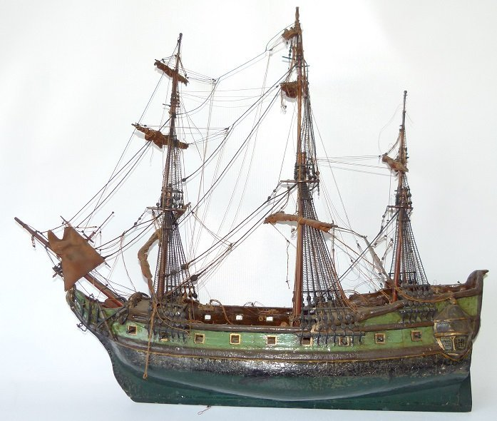 FOLK ART MILITARY SHIPS MODEL, 20TH C.