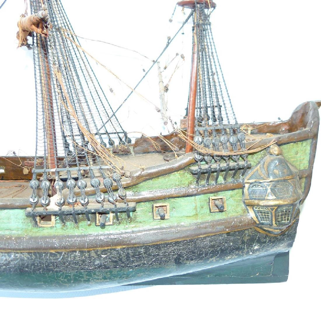 FOLK ART MILITARY SHIPS MODEL, 20TH C. - 3