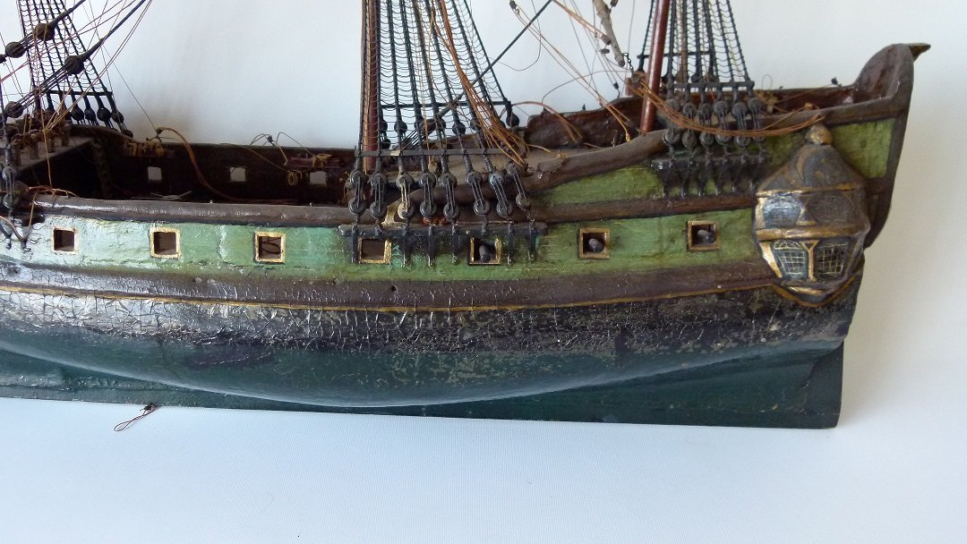 FOLK ART MILITARY SHIPS MODEL, 20TH C. - 6