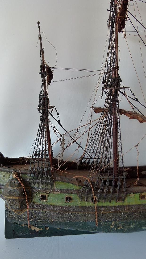FOLK ART MILITARY SHIPS MODEL, 20TH C. - 9