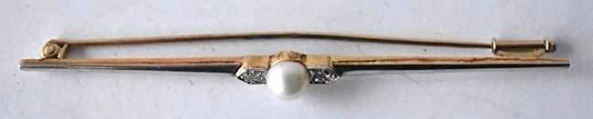 ART DECO 14KT YELLOW/WHITE GOLD/DIAMOND BAR PIN