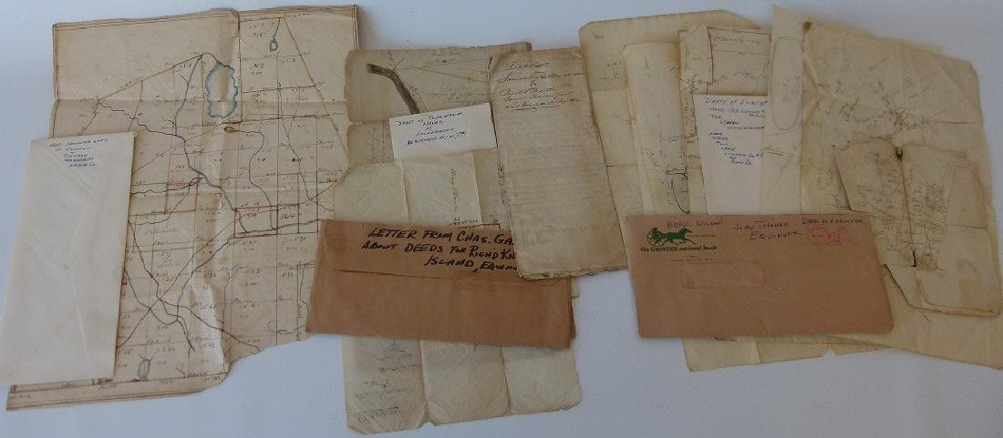 LARGE LOT ASSORT. H/C MAPS/DEEDS INCL. JOHN THOMAS