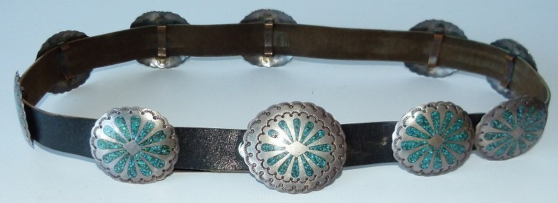 SOUTHWEST AMERICAN INDIAN CONCHO BELT, HALLMARKED