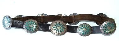 SOUTHWEST AMERICAN INDIAN CONCHO BELT, HALLMARKED - 3