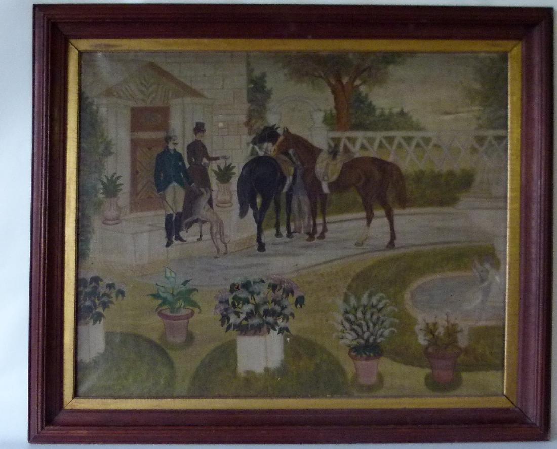 O/C FOLK ART EQUESTRIAN RIDERS UNSIGNED, C. 1850/60
