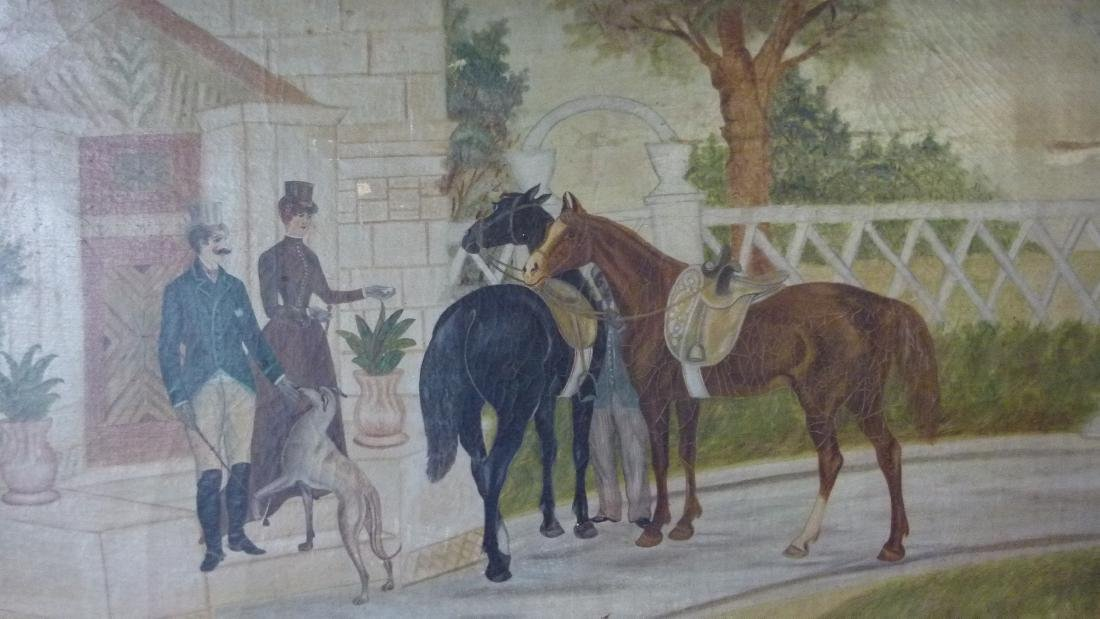 O/C FOLK ART EQUESTRIAN RIDERS UNSIGNED, C. 1850/60 - 3