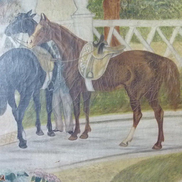 O/C FOLK ART EQUESTRIAN RIDERS UNSIGNED, C. 1850/60 - 4
