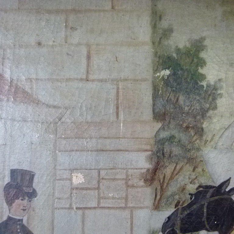 O/C FOLK ART EQUESTRIAN RIDERS UNSIGNED, C. 1850/60 - 6