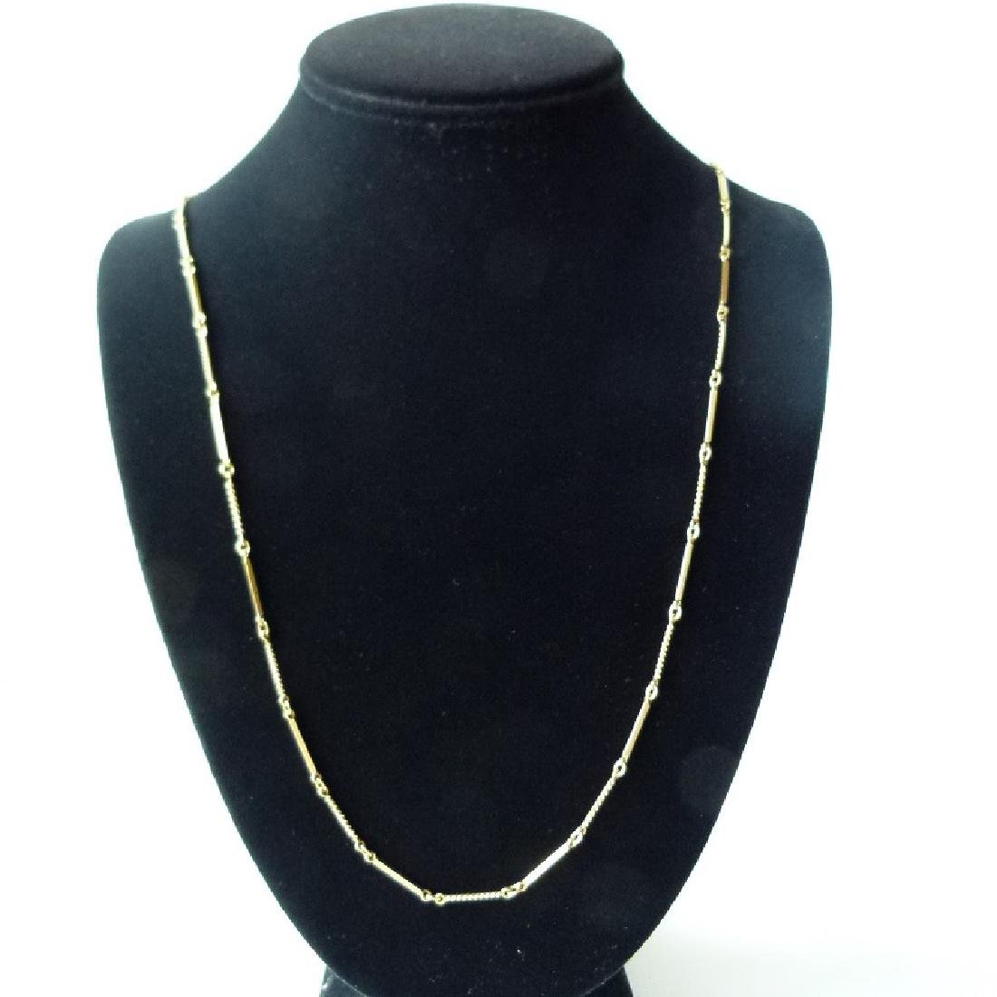 18KT YELLOW GOLD BAR CHAIN NECKLACE
