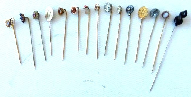 LOT (15) VICTORIAN GOLD/SILVER STICK PINS