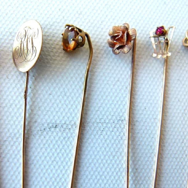 LOT (15) VICTORIAN GOLD/SILVER STICK PINS - 5