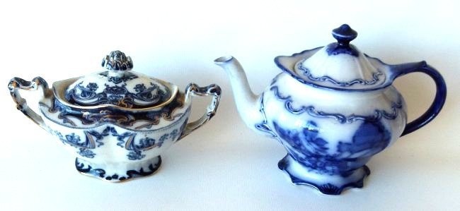 LOT (2) ASSORTED FLOW BLUE IRONSTONE TEAPOT/SUGAR