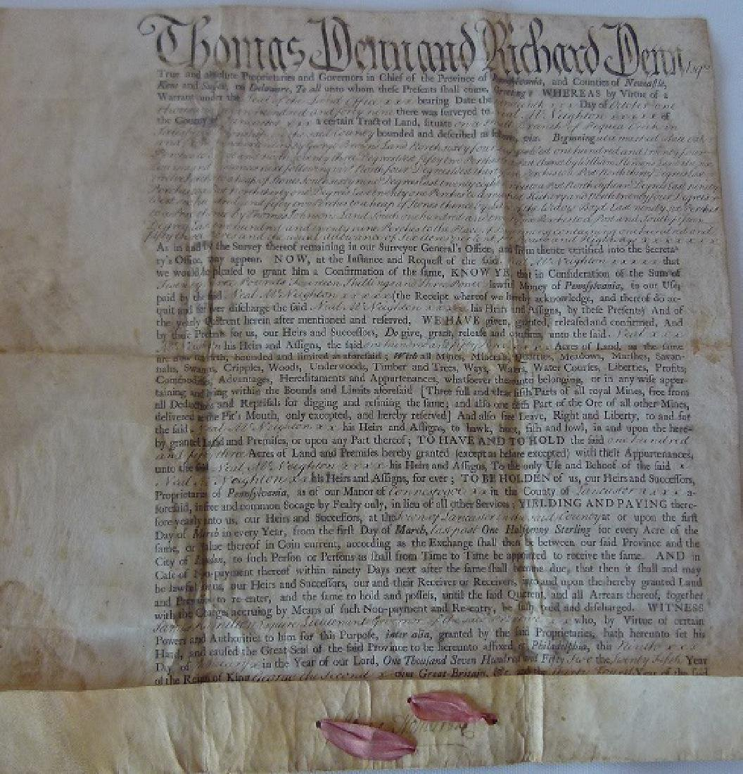 VELLUM DOCUMENT LAND DEED/INDENTURE, THOMAS & RICHARD