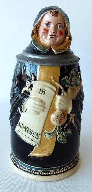 "1/2 LITRE GERMAN CHARACTER STEIN ""MONK"" SIGNED - 2"