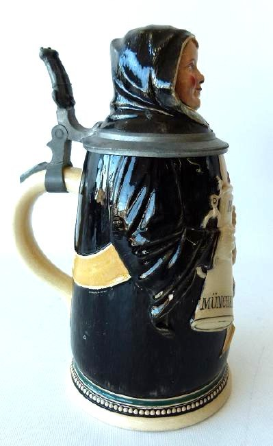 "1/2 LITRE GERMAN CHARACTER STEIN ""MONK"" SIGNED - 3"