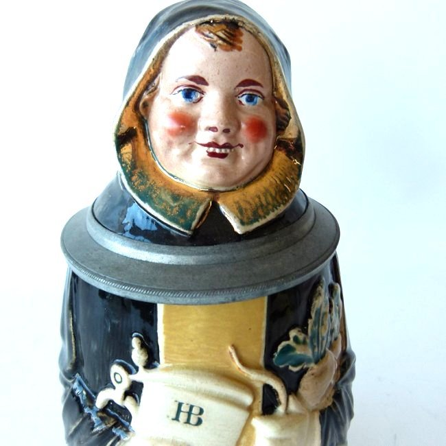 "1/2 LITRE GERMAN CHARACTER STEIN ""MONK"" SIGNED - 5"