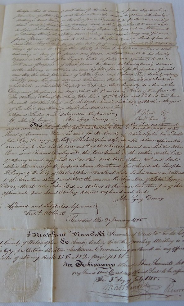 LOT (4) DOCUMENTS-JOHN & WILLIAM PENN LAND - 4