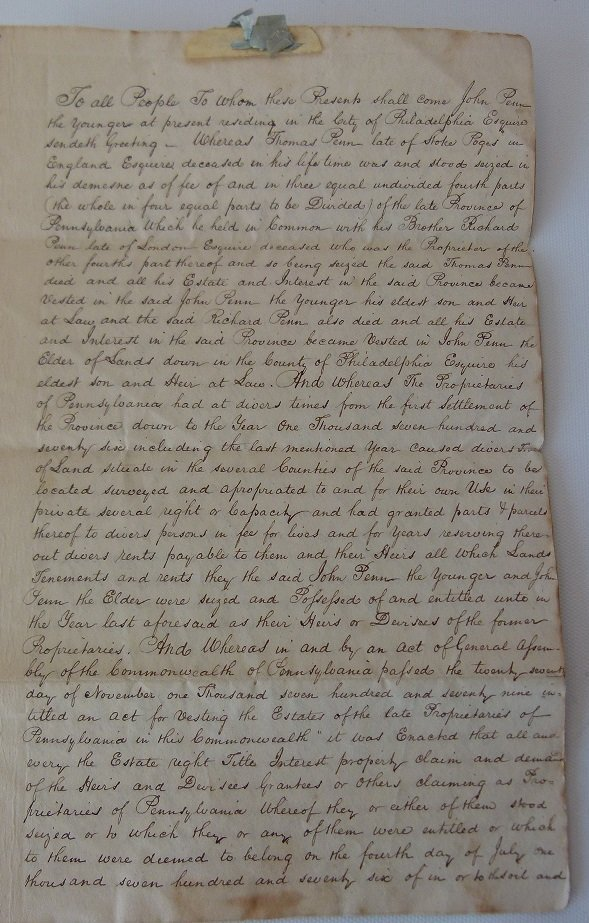 LOT (4) DOCUMENTS-JOHN & WILLIAM PENN LAND - 8
