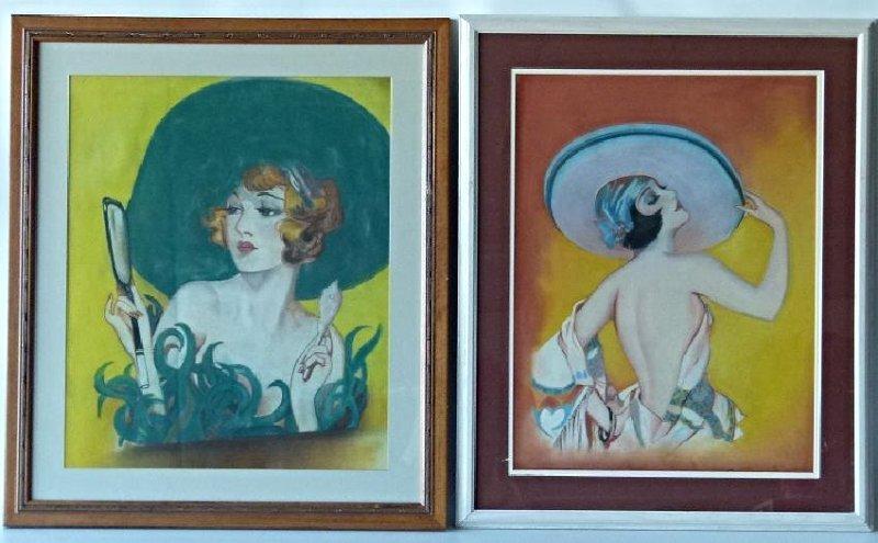 (2) ART DECO PASTELS ART DECO WOMAN SIGNED W. ERICKSON