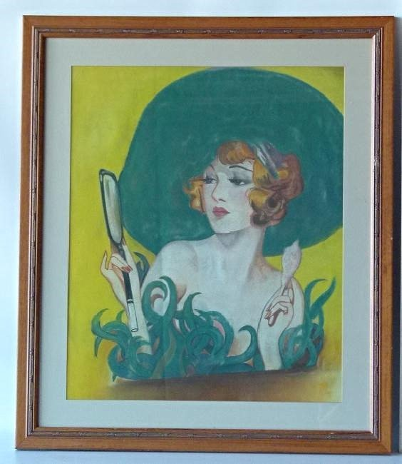 (2) ART DECO PASTELS ART DECO WOMAN SIGNED W. ERICKSON - 2