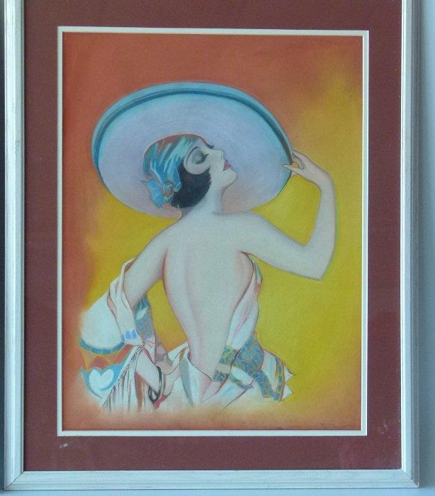 (2) ART DECO PASTELS ART DECO WOMAN SIGNED W. ERICKSON - 3
