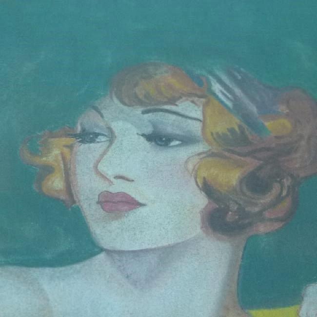 (2) ART DECO PASTELS ART DECO WOMAN SIGNED W. ERICKSON - 4