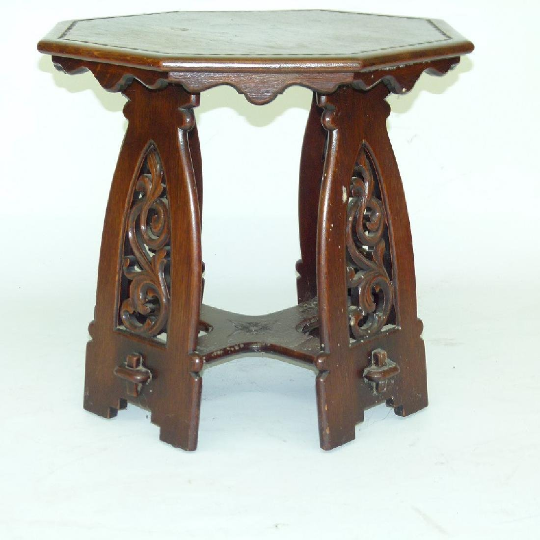 RENAISSANCE STYLE OAK OCTAGON STAND, 20TH C. SIGNED
