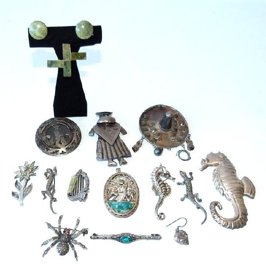 LARGE LOT ASSORT. MEXICAN STERLING/SILVER JEWELRY