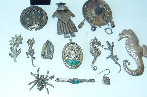 LARGE LOT ASSORT. MEXICAN STERLING/SILVER JEWELRY - 2
