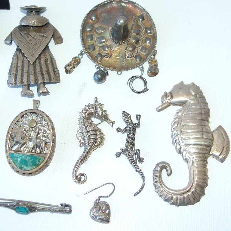 LARGE LOT ASSORT. MEXICAN STERLING/SILVER JEWELRY - 4