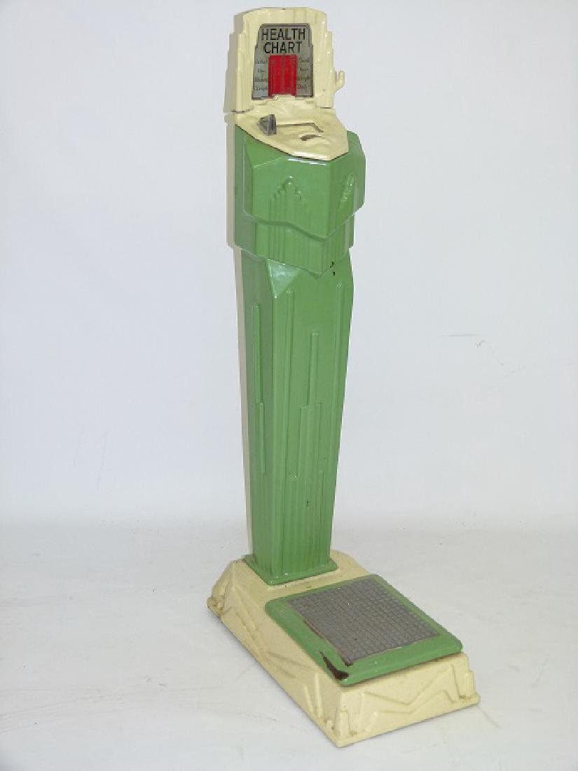 ART DECO ENAMELED CAST IRON PENNY SCALE C. 1920/30