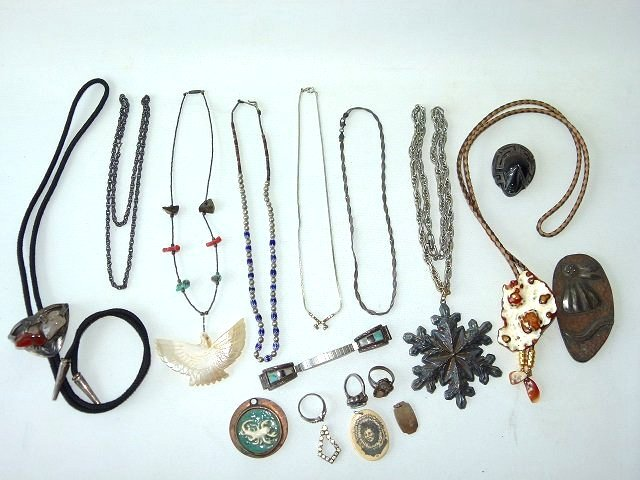 LOT ASSORTED AMERICAN INDIAN, MEXICAN, ESKIMO STERLING