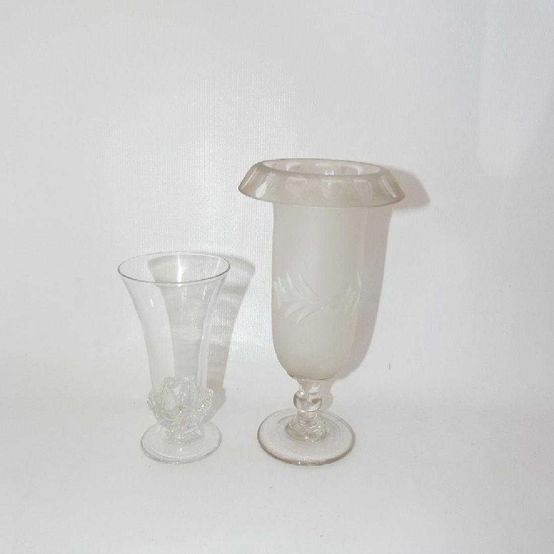 LOT (2) TRUMPET GLASS VASES INCL. SIGNED DAUM FRANCE