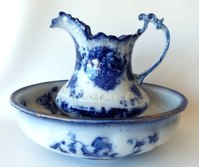 LOT (2) ASSORTED FLOW BLUE IRONSTONE PITCHER/BOWL