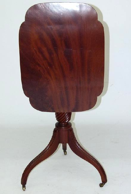 DUNCAN PHYFE CARVED MAHOGANY TILT TOP CANDLE STAND