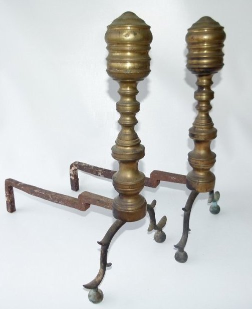 PAIR FEDERAL BRASS ANDIRONS, 18/19TH C.