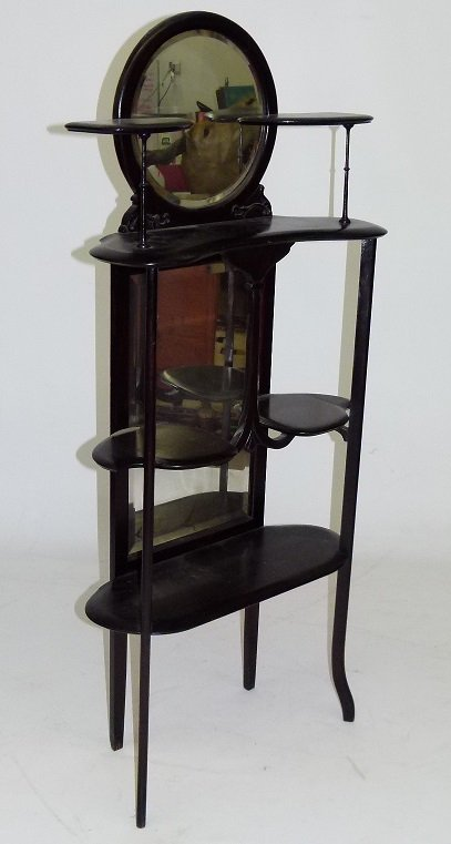 DECO WALNUT ETEGERE W/ MIRRORED BACK, C. 1900