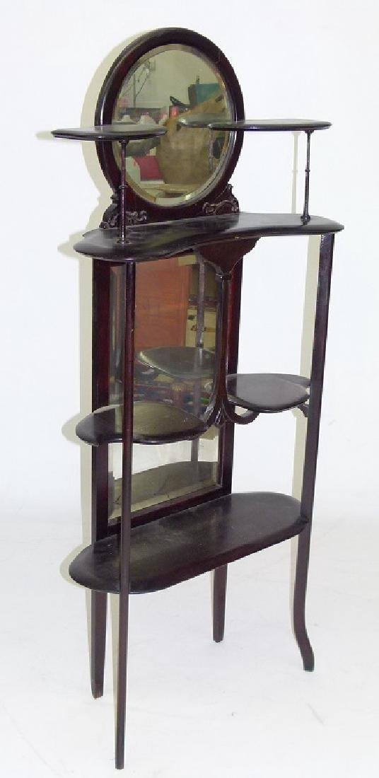 DECO WALNUT ETEGERE W/ MIRRORED BACK, C. 1900 - 2