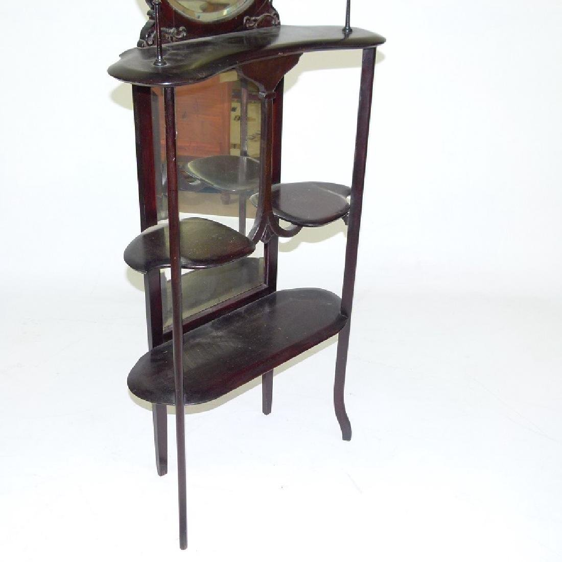 DECO WALNUT ETEGERE W/ MIRRORED BACK, C. 1900 - 3